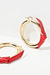 Thumbnail View 1: Leather Wrapped Tube Hoop Earrings