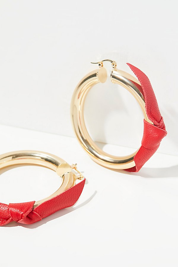 Slide View 1: Leather Wrapped Tube Hoop Earrings