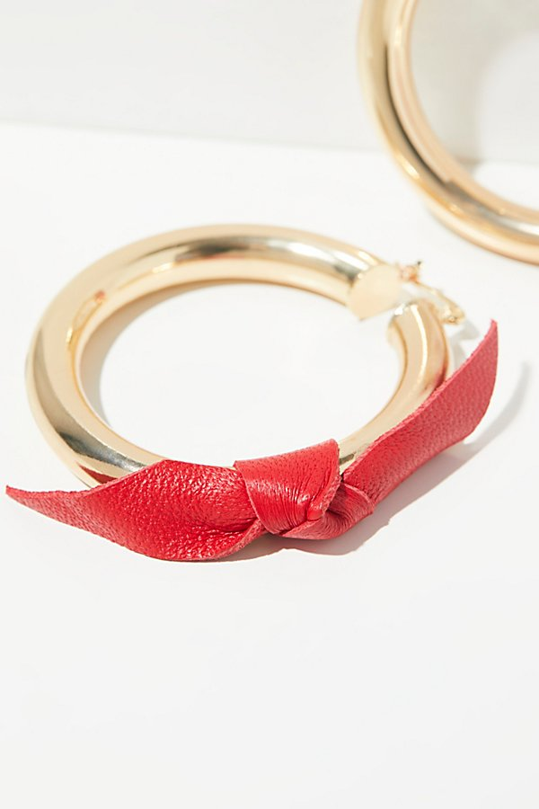 Slide View 2: Leather Wrapped Tube Hoop Earrings