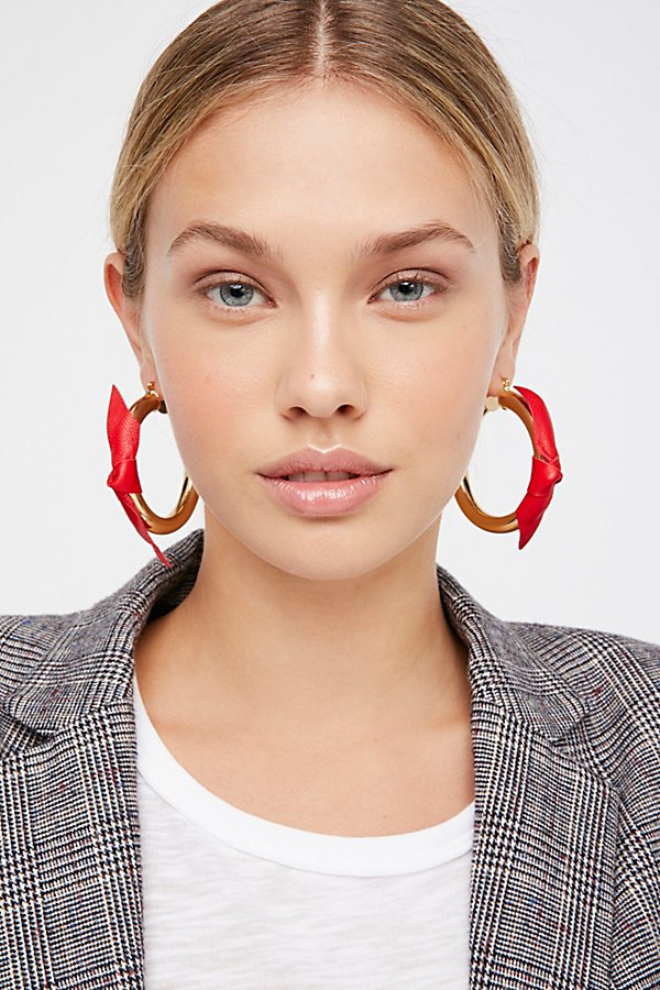 Slide View 3: Leather Wrapped Tube Hoop Earrings