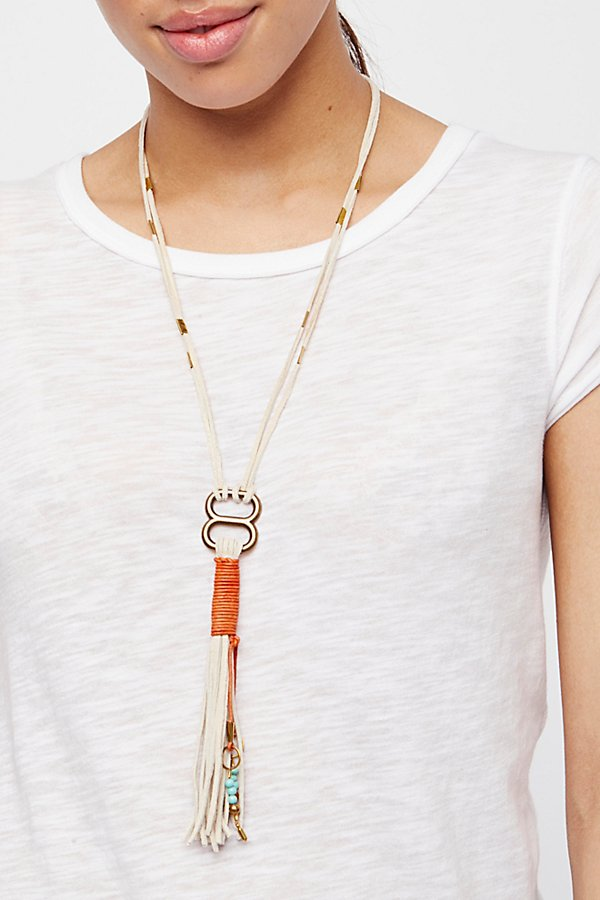 Slide View 1: Alloy Ring Leather Bolo Necklace