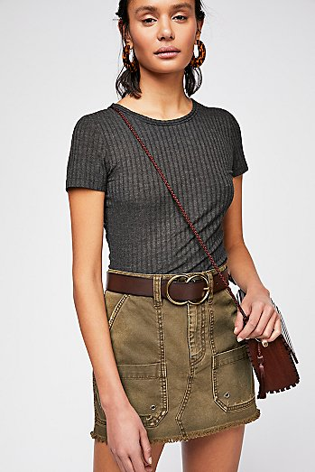 Canvas Relaxed Mini Skirt