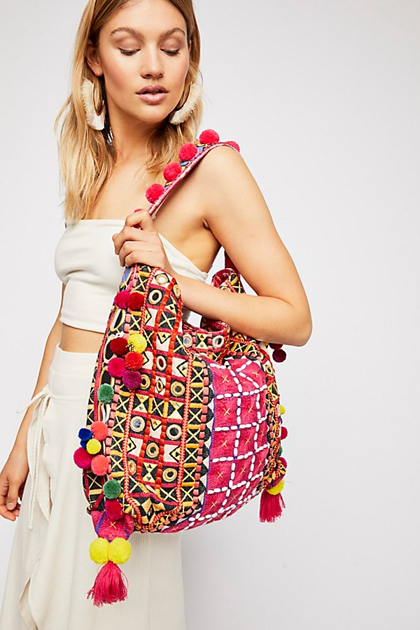 Slide View 1: In Bloom Embroidered Hobo Bag