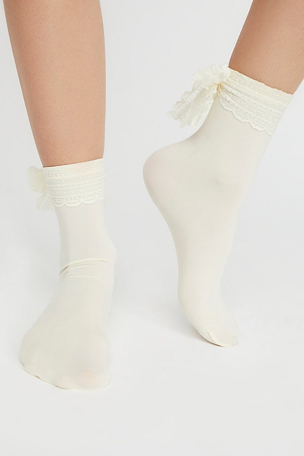 Slide View 2: Lace Ribbon Crew Sock
