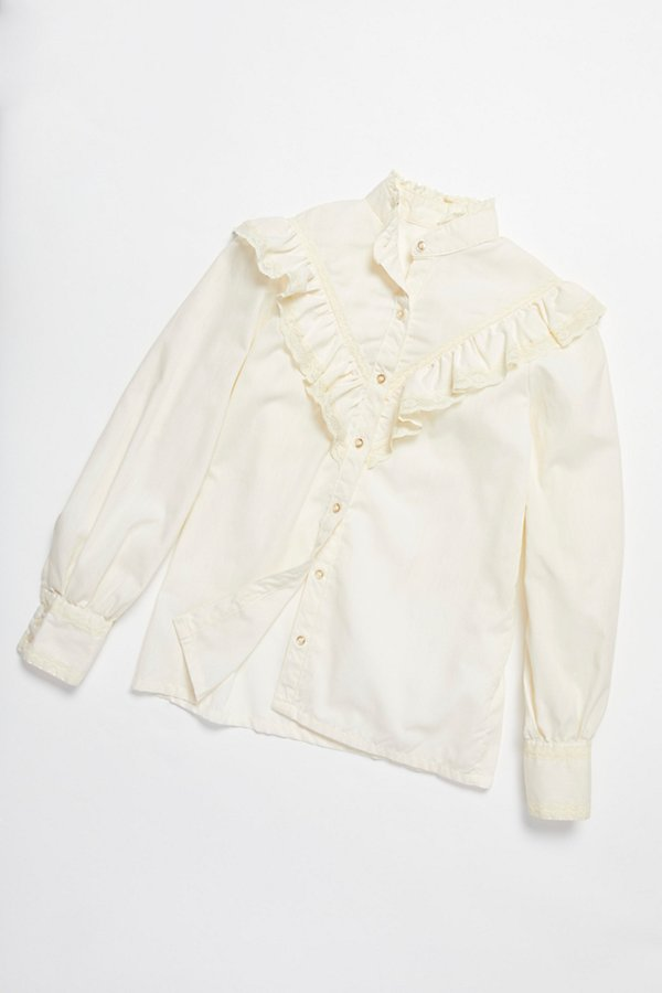 Slide View 1: Vintage 1970s Ruffle Blouse