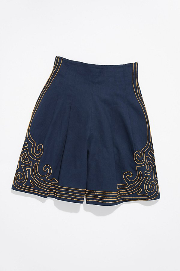 Slide View 1: Vintage 1940s Embroidered Shorts