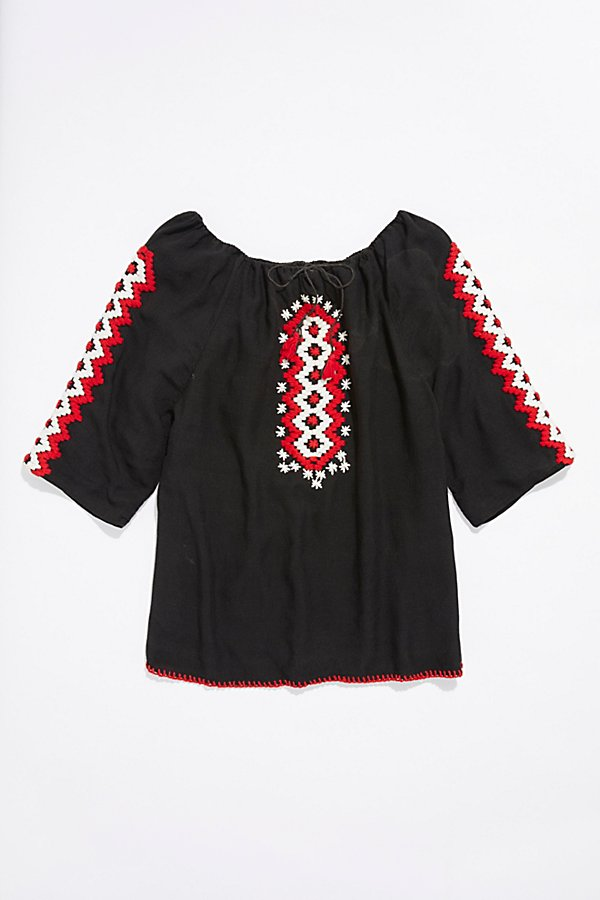Slide View 1: Vintage 1970s Embroidered Tunic Top