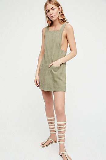 Square Neck Suede Mini Dress