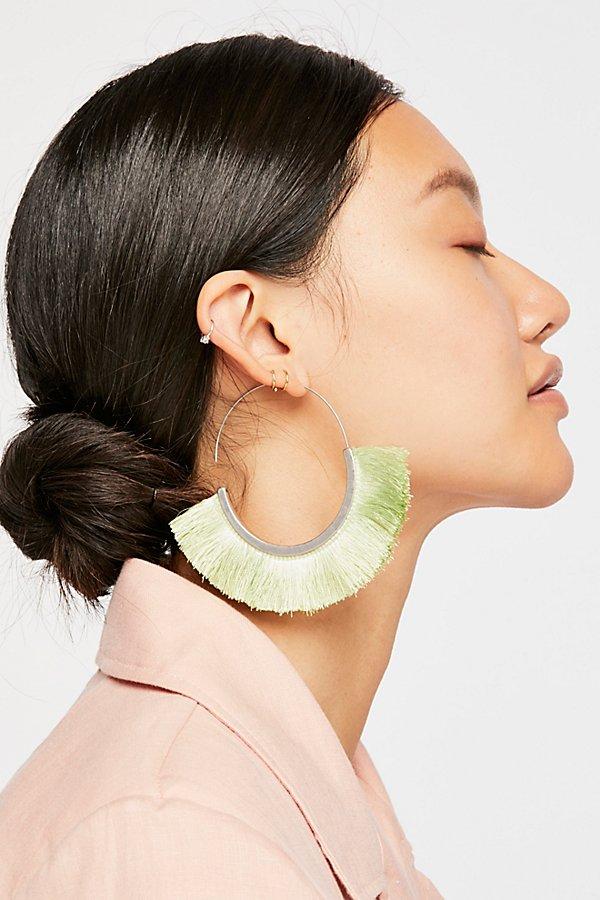 Slide View 1: Flamenco Tassel Hoop Earrings