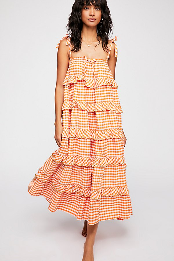 Slide View 1: Gingham Frill Maxi Dress
