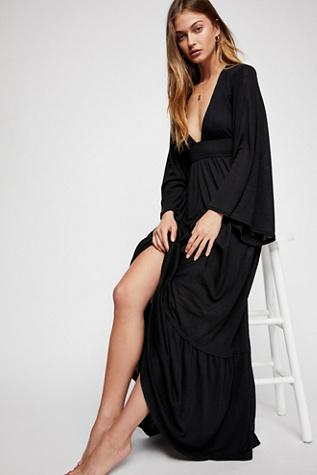 Black scarf print bandeau maxi dress