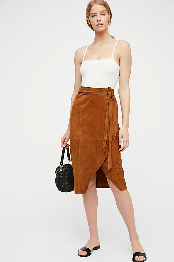 Slide View 1: Suede Wrap Skirt