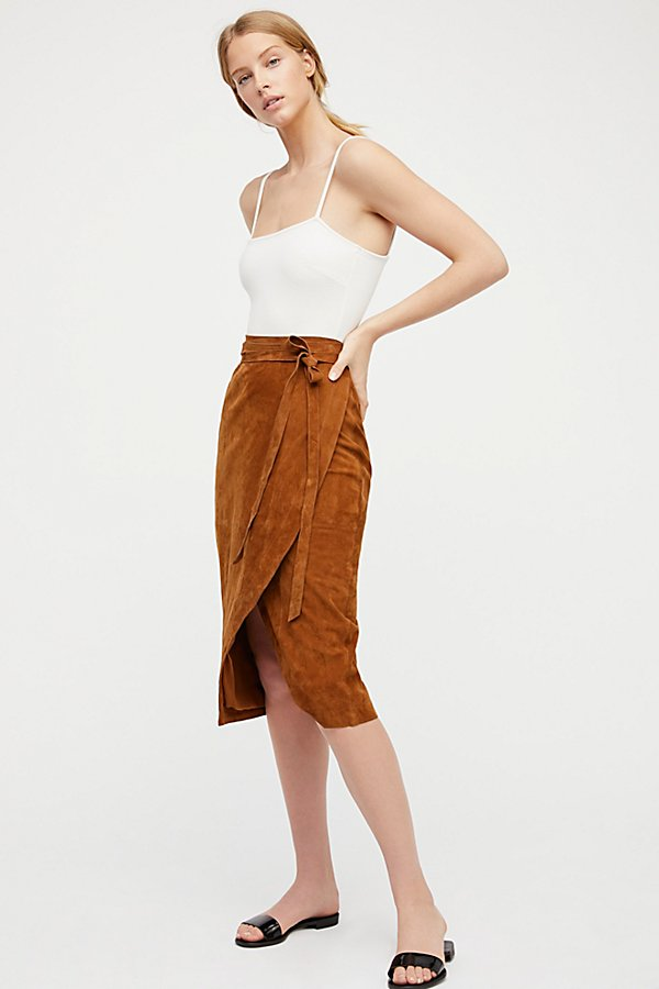 Slide View 3: Suede Wrap Skirt