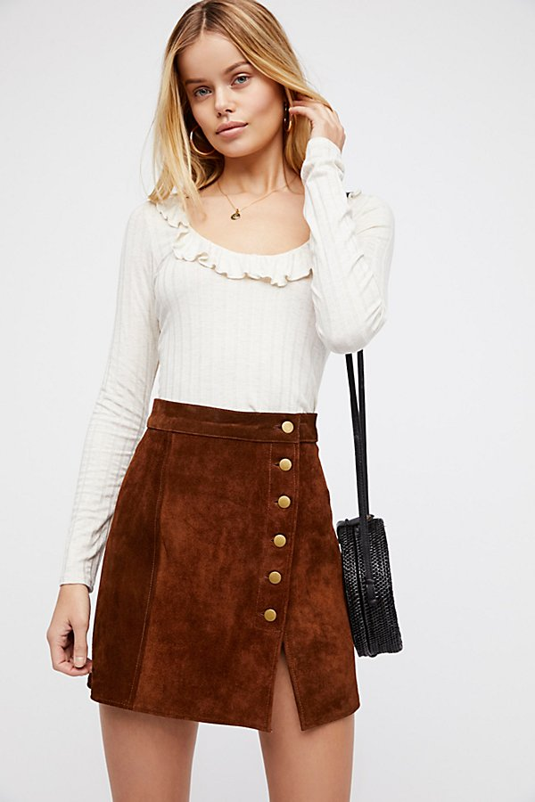 Slide View 1: Understated Suede Mini Skirt
