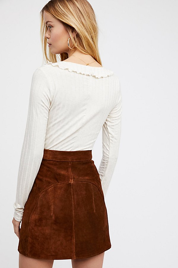 Slide View 3: Understated Suede Mini Skirt
