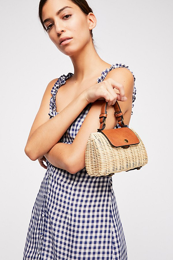 Slide View 1: Mini Wicker Crossbody Bag
