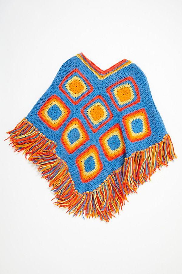 Vintage 1970s Granny Square Crochet Poncho Free People