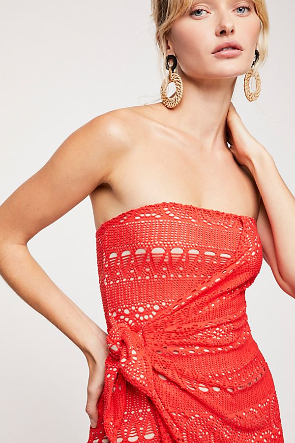 Oceanside Mini Dress in Red. - size L (also in M,S,XS) Free People