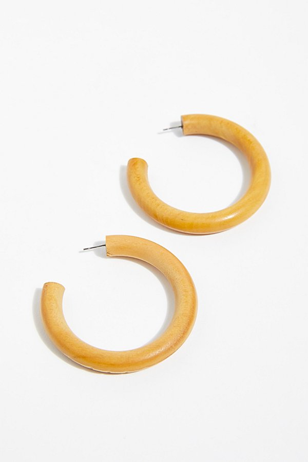 Slide View 2: Wooden Hoop Earrings