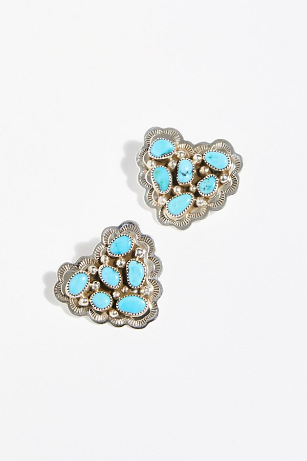 Slide View 2: Turquoise Cluster Heart Studs