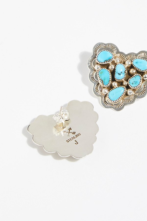 Slide View 3: Turquoise Cluster Heart Studs