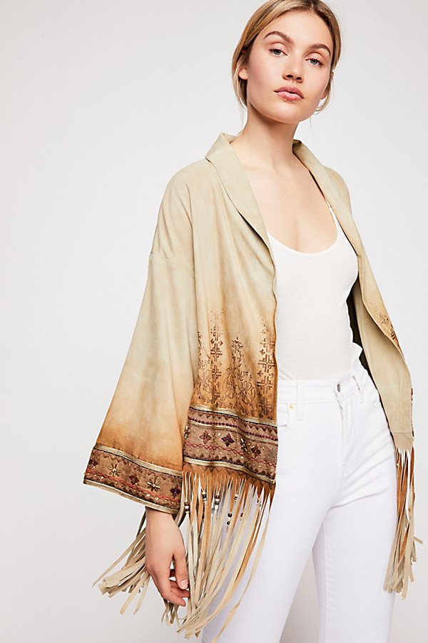 Slide View 1: Whispering Winds Suede Kimono