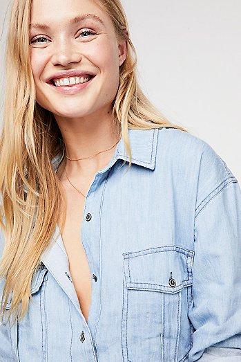 Love And Hugs Denim Buttondown