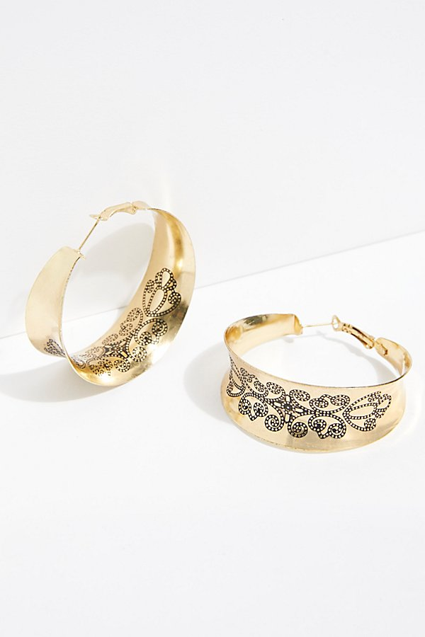 Slide View 2: Floral Engraved Hoop Earrings
