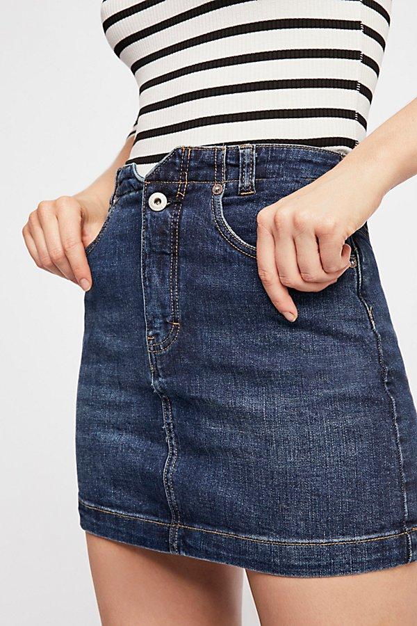 Slide View 4: She's All That Denim Mini Skirt