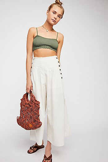 Side Slit Wide Leg Trouser