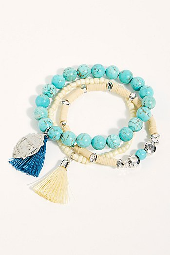 Mantra Beaded Anklet Set