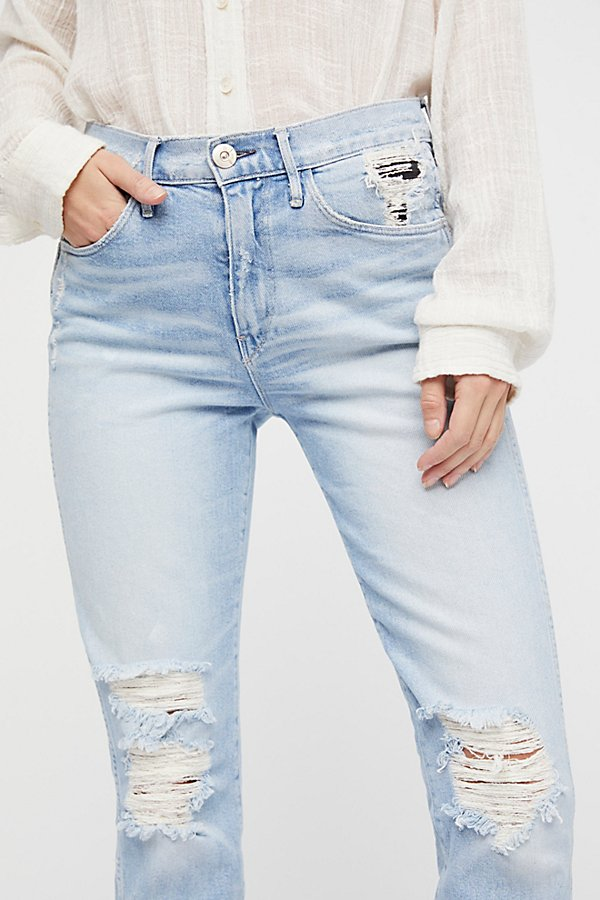 Slide View 4: High Rise Straight Authentic Crop Jeans