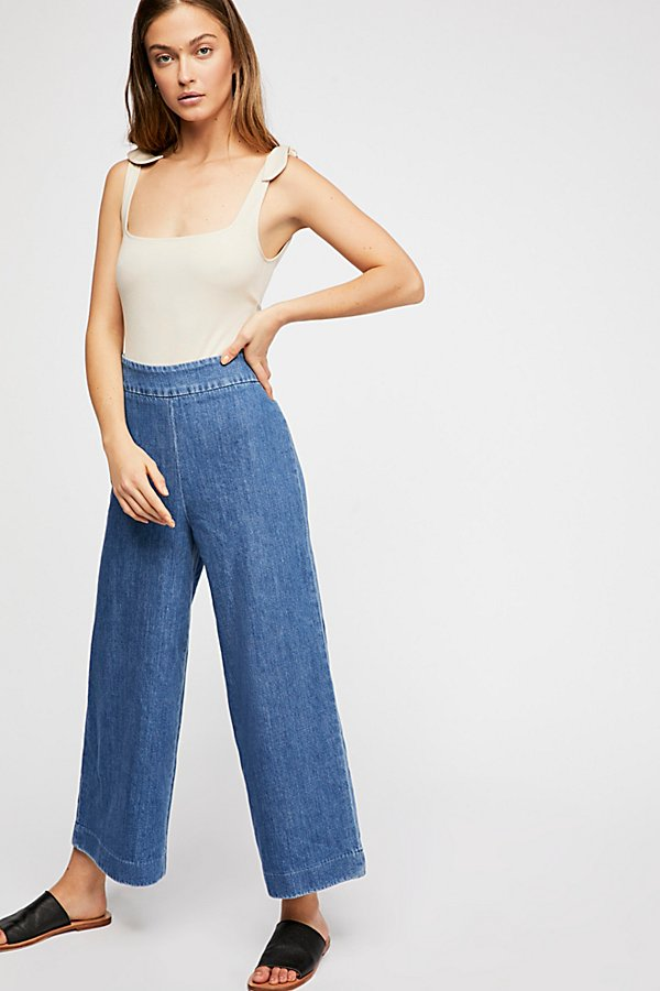 Slide View 1: Clean Wide-Leg Jeans