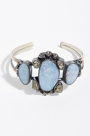Pyrite and Stars Turquoise Cuff