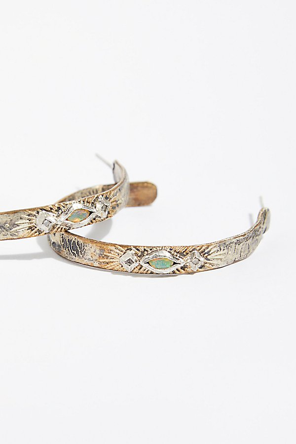 Slide View 2: Free Rain Opal Diamond Hoop Earrings