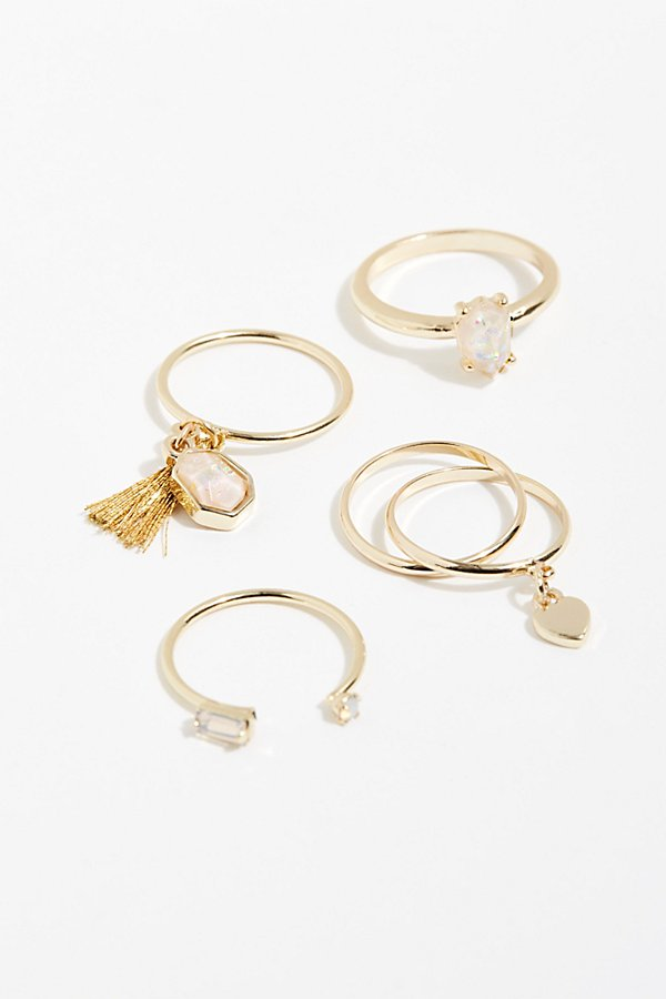 Slide View 2: Tiny Tassel Ring Set