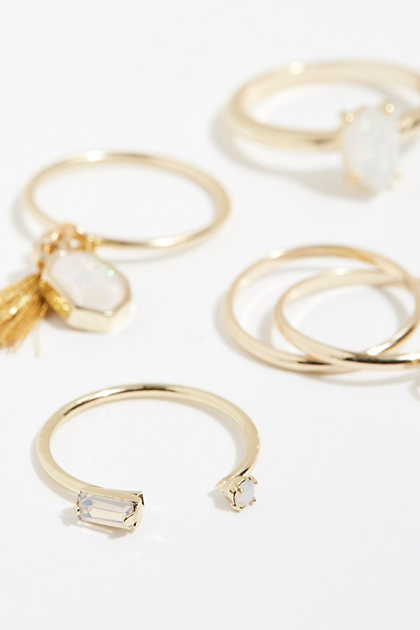 Slide View 3: Tiny Tassel Ring Set