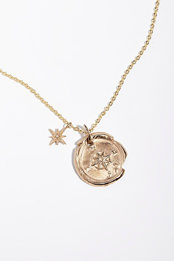 Compass Artifact Charm Necklace