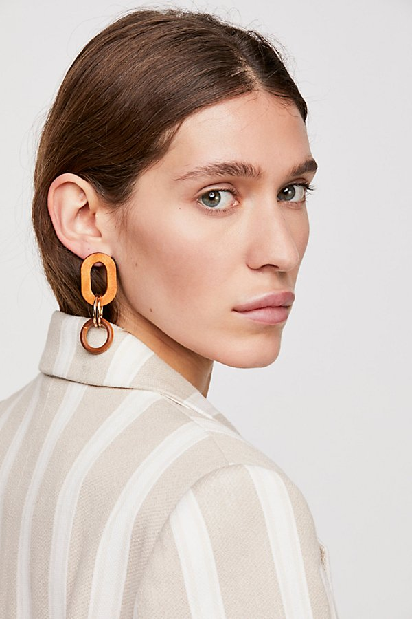 Slide View 1: Wooden Loop Hoop Earrings