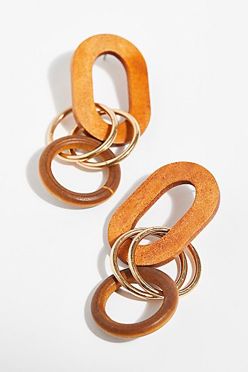 Wooden Loop Hoop Earrings