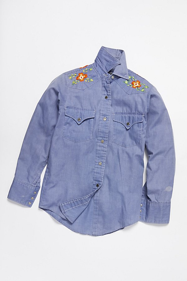 Slide View 1: Vintage 1970s Chambray Buttondown