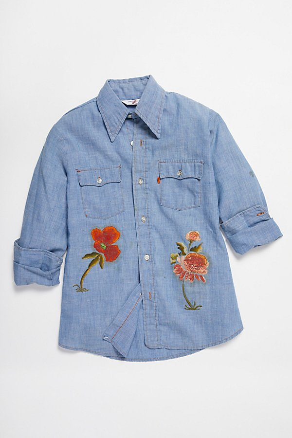 Slide View 1: Vintage 1970s Hand Painted Buttondown