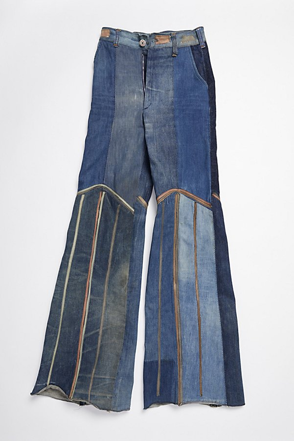 Slide View 1: Vintage 1970s Multitone Suede Patchwork Flares