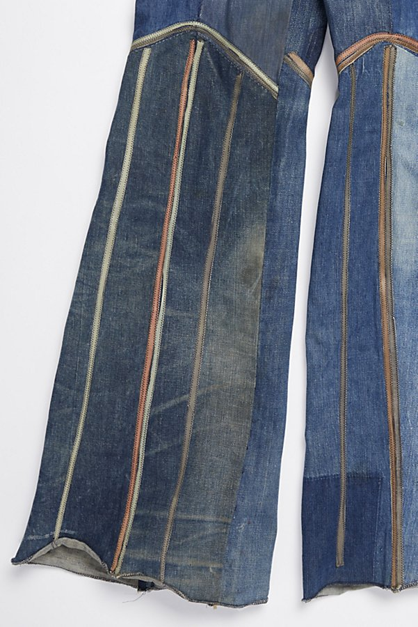 Slide View 3: Vintage 1970s Multitone Suede Patchwork Flares
