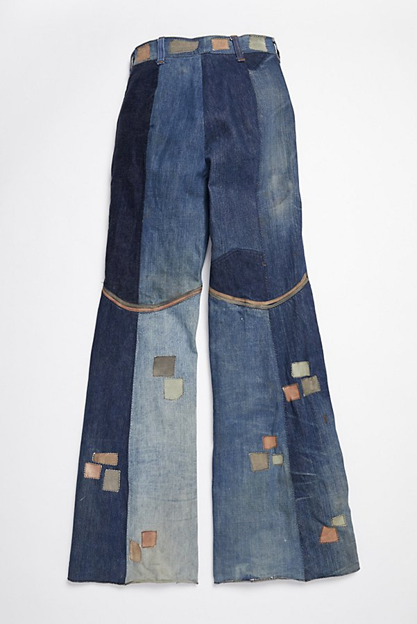 Slide View 4: Vintage 1970s Multitone Suede Patchwork Flares