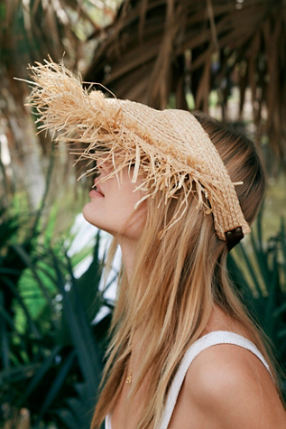 Palm Frond Straw Visor by Free People