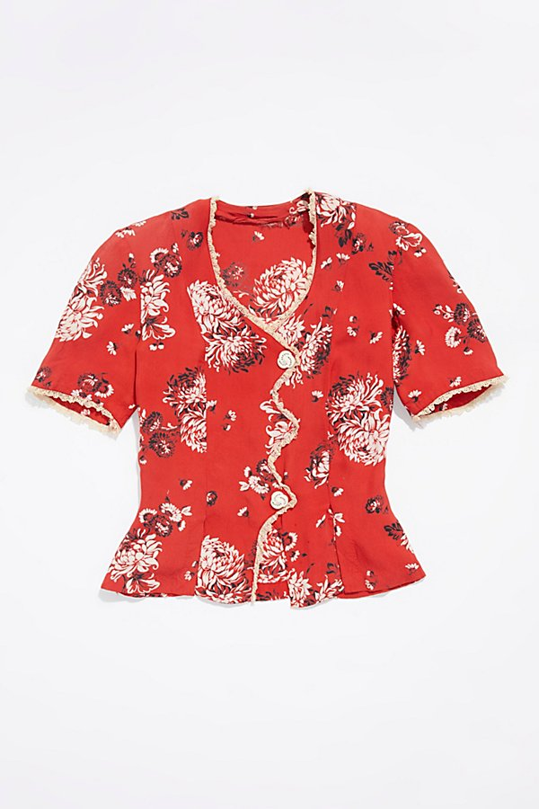 Slide View 1: Vintage 1960s Floral Silk Top