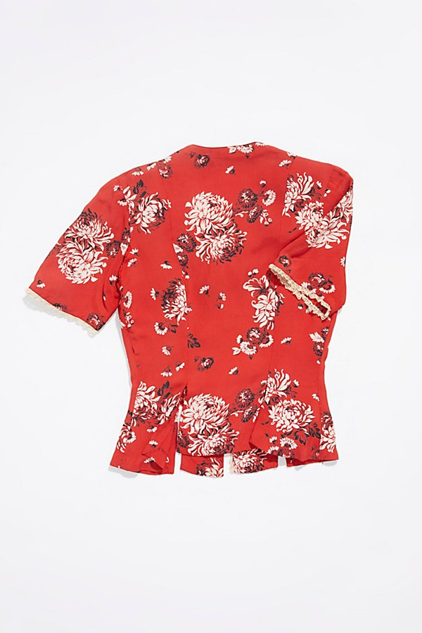 Slide View 3: Vintage 1960s Floral Silk Top