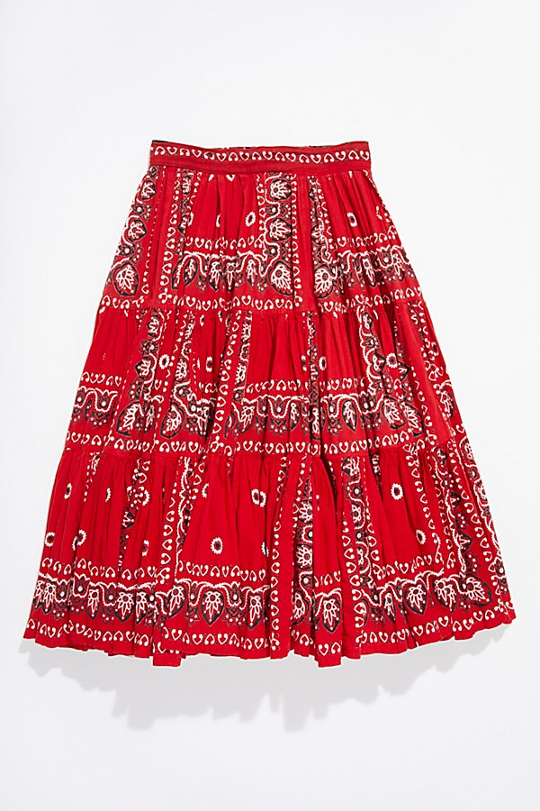Slide View 1: Vintage 1970s Bandana Patchwork Skirt
