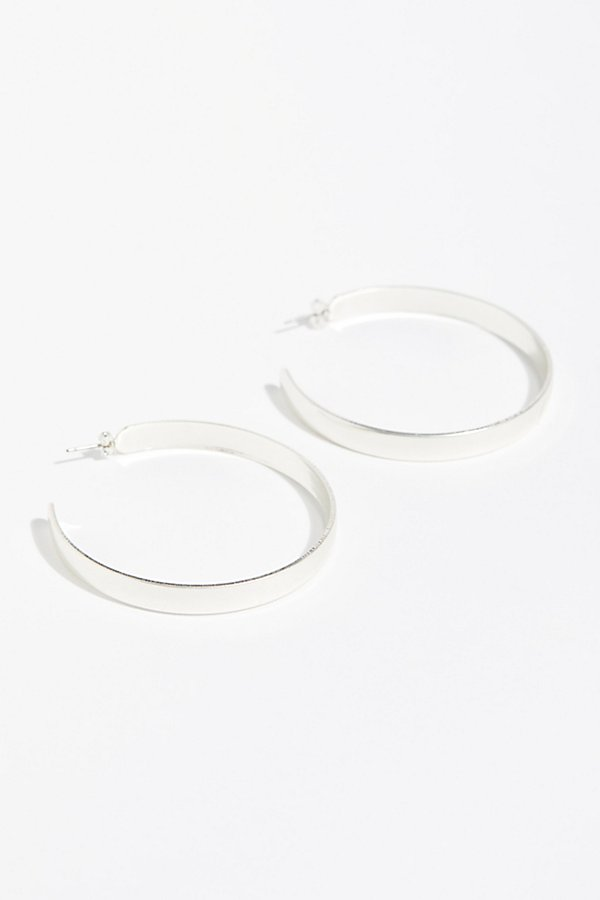 Slide View 3: Flat Edge Hoop Earrings